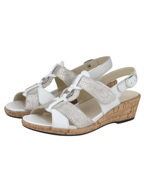 Sandalette Waldläufer weiß/silberfarben