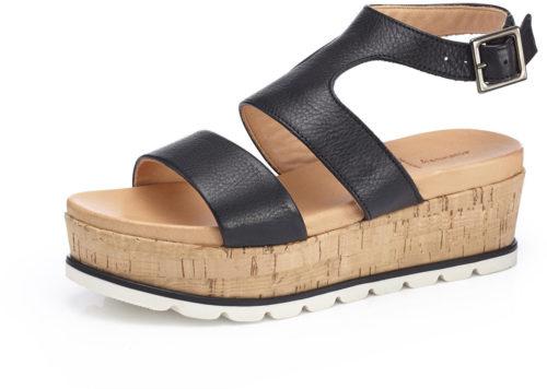 hessnatur Damen Sandalette aus Leder schwarz