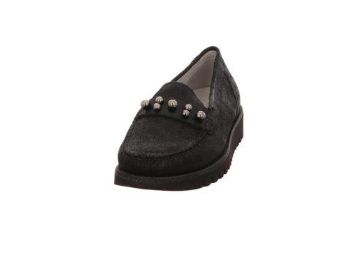 Damen Waldläufer Komfort Slipper schwarz GLITTER 40,5
