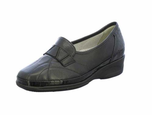 Damen Waldläufer Komfort Slipper schwarz Lugina-645630 schwarz 38,5