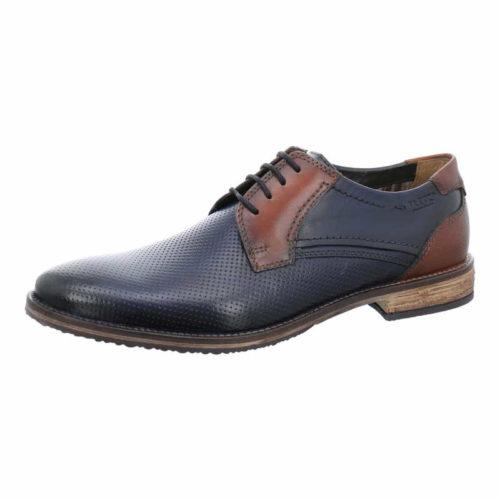 Herren Fretz Men Business Schuhe blau Schnürschuh perforiert 45