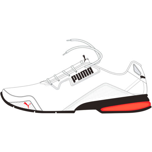 PUMA Leader VT Tech Mesh Laufschuhe puma white/high risk red/puma black 42